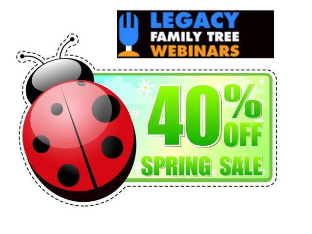 Save 40% on Legacy Family Tree Webinars Annual Subscriptions - including renewals!  Genealogy education - where you are! If you don't already have a subscription, this is the BEST SALE of the year! And if you already have a subscription, use the link below to automatically extend your current plan an additional year! Regularly $49.95 USD per year, now just $28.98 USD! PLUS use promo code THOMAS15 at checkout and the price is just $24.21! Sale valid through Sunday, April 1st