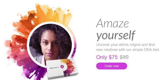 Save 25% at MyHeritage DNA - $75 USD! For just $75 USD you can get the popular autosomal DNA test kit similar to AncestryDNA, Family Tree DNA and other DNA testing companies. You'll have access to more ethnicities than any other major vendor PLUS received your results much faster than other companies.