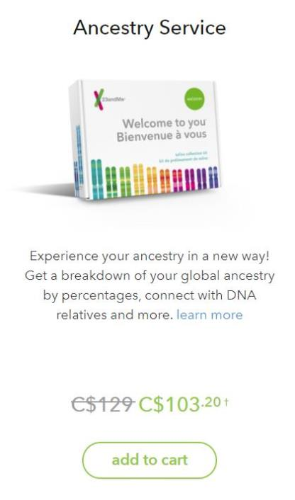 Ancestry Service test kit (autosomal DNA test, compare to AncestryDNA), regularly $129 CAD, is now just $103.20 CAD