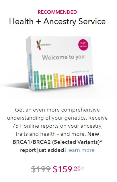 Ancestry Service + Health test kit, which also provides health information based on DNA, regularly $199 USD, is now just $159.20 USD!