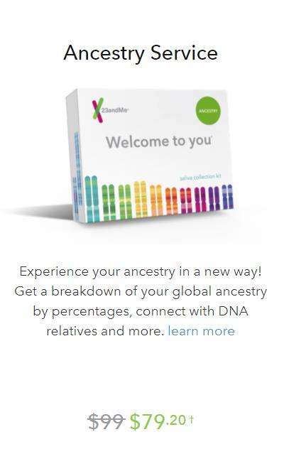 Ancestry Service test kit (autosomal DNA test, compare to AncestryDNA), regularly $99 USD, is now just $79.20 USD