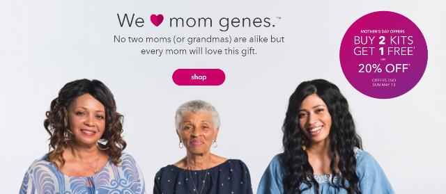 """Buy 2 Kits Get 1 Free OR Take 20% Off* during Mother's Day Sale at 23andMe - """"We love mom genes.™No two moms (or grandmas) are alike but every mom will love this gift."""" If you purchase two kits and get one free (you can mix and match the Ancestry Service and the Ancestry Service + Health kits), you can save up to 30% of the FULL PRICE ($99 USD Ancestry Service and $199 USD Ancestry Service + Health)!"""
