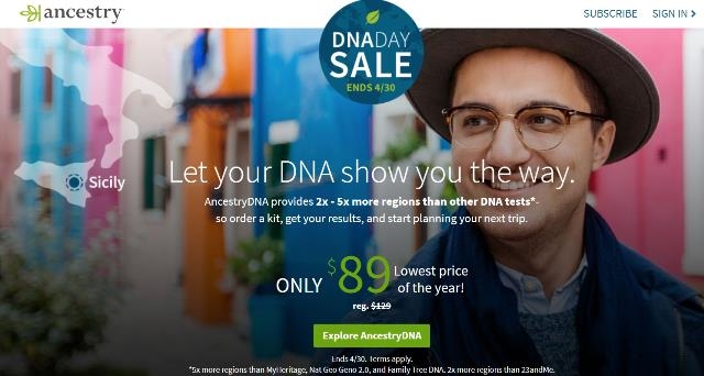 The DNA Day Sale comes to the Canada! Save 30% on AncestryDNA – regularly 129 CAD, now just 89 CAD! Expires April 30th - don't miss this sale! Get all the details at Genealogy Bargains !