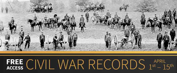 "FREE ACCESS to Civil War Collection at Fold3! ""To commemorate the beginning of the Civil War in 1861, Fold3 is providing free access (with registration) to our Civil War Collection from April 1–15. This collection currently has 50 titles, with more than 91 million records, so if you're looking for information on the Civil War veterans in your family tree—or doing other Civil War-era research—now is the perfect time to explore these records on Fold3."""