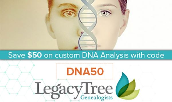 Save $50 on DNA Discovery Plan at Legacy Tree Genealogists!