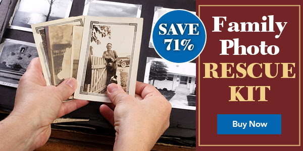 "Save 71% on Family Photo Rescue Kit from Family Tree Magazine - ""A Picture Can be Worth a Thousand Words - Get 6 Photo Resources for 1 Low Price! Family pictures and historical photos of ancestors are among a genealogist's most precious possessions. They freeze a moment in time, and offer a portal into the past. However, sometimes those photos need a little TLC. This kit will give you the resources you need to revive your photo collection. Packed with six resources you need to fix your old photos, this is a must-have for anyone with a collection of family photos. Don't wait, start rescuing your photos today."""