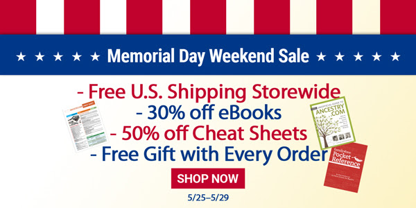 FREE SHIPPING and More - Memorial Day Weekend Sale at Family Tree Magazine