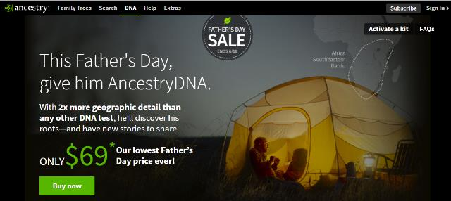 "AncestryDNA just $69 USD during Ancestry Father's Day Sale! ""Give Dad AncestryDNA for Father's Day. He'll discover his ethnic roots—and the origins of his otherworldly abilities.With 2x more geographic detail than any other DNA test, he'll discover his roots—and have new stories to share."" Get the world's most popular DNA test kit and pay just $69 USD."