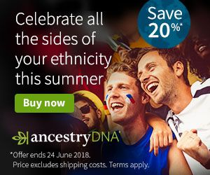 "Save 20% on AncestryDNA UK during World Cup Sale! ""Celebrate all the sides of your enthicity this summer! Save 20% on AncestryDNA."" Regularly £99 GBP, now just £79 GBP! Sale valid through June 24th."