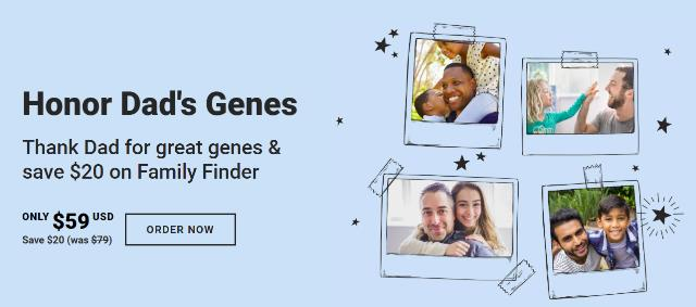 The Family Finder DNA test kit, similar to the autosomal DNA test kit at 23andMe and AncestryDNA, regularly $79 USD, now just $59 USD! Sale valid through Monday, June 18th.