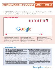 Genealogist's Google Cheat Sheet: The Genealogist's Google Cheat Sheet will help you use the power of Google to discover genealogy and ancestor information online. Make the most of Google's free tools including Search, Translate, Books, News Archive, Images, Patent Search and more.