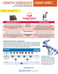 Genetic Genealogy Cheat Sheet: This cheat sheet outlines (in plain English) how you can get started using genealogical DNA testing to unpuzzle your own ancestry questions with at-a-glance charts, tips and resources.