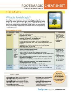 RootsMagic Cheat Sheet -Download:Organize your genealogy with RootsMagic. This quick guide will show you how to create, build, edit, and share family trees in one of the most popular genealogy software programs, featuring tips and techniques for using the program's more complex features.