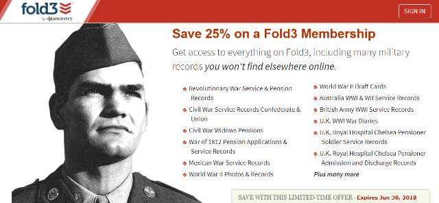 Save 25% on Annual Membership at Fold 3! Get access to everything on Fold3, including many military records you won't find elsewhere online