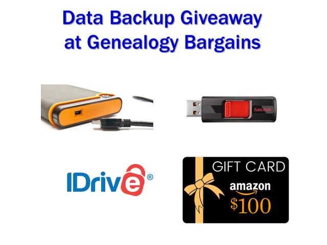 Enter the Data Backup Giveaway at Genealogy Bargains and you could win a data backup bundle valued at over $300 USD!