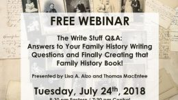 Family history writing expert Lisa A. Alzo, MFA and genealogy educator and author Thomas MacEntee conduct a LIVE Q&A session focused on the importance of writing up your genealogy and family history research
