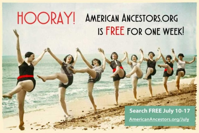 Take the American Ancestors site for a test drive this week,July 10-18, 2018, with FREE ACCESS to over 1.4 Billion searchable names via Genealogy Bargains!