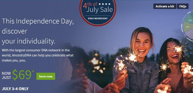 "AncestryDNA just $69 USD during 4th of July Sale! ""This Independence Day, discover your individuality! With the largest consumer DNA network in the world, AncestryDNA can help you celebrate what makes you, you. Almost 10 million people have learned more about themselves. Are you next? From discovering their ethnicity to connecting with distant relatives, the largest DNA network in the world is helping more people find the singular story in their DNA. Yours is just as unique, revealing traces of your family history—who your ancestors were and where they came from."""