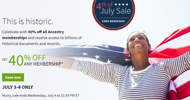 "Save 40% on Ancestry memberships during 4th of July Sale! ""Celebrate America's history by discovering your own! Celebrate with 40% off all Ancestry memberships and receive access to billions of historical documents."""