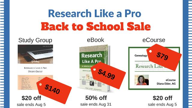The team behind the best-selling book Research Like a Pro: A Genealogist's Guide are holding an amazing Back to School Sale with amazing savings!