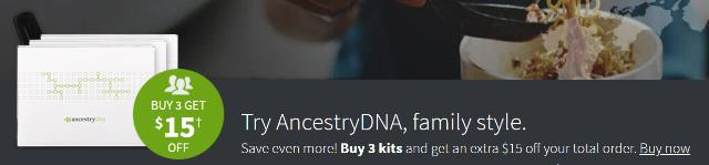 Currently, during the AncestryDNA Summer Sale, you can save $15 USD when purchasing 3 AncestryDNA kits. So, instead of paying $177 USD (which is the sale price of $59 USD each), you pay just $162 USD. The $15 USD savings does not offset the shipping fee of $9.95 USD for each kit, but it does help!