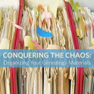 "Conquering the Chaos: Organizing Your Genealogy Materials Do you have stacks of papers, files, certificates, census copies, and other items around your home? You can conquer this dilemma and learn genealogy organization tips for regularly keeping your clutter under control, with both paper and software. No one can promise perfection, but this session will share many ideas to get you on your way, including tips from some professional genealogists. We'll even discuss some ""lazy day"" methods to keep you on top of your filing."