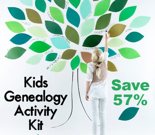 Save 60% on this amazing Kids Genealogy Activity Kit and get your little one hooked on family history! Visit Genealogy Bargains for the special promo code!