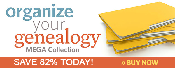 "Save 82% on Organize Your Genealogy MEGA Collection at Family Tree Magazine! ""If being an organized genealogist feels like a pipe dream, this collection is for you! This collection will provide a ton of tips and strategies on organizing all aspects of your genealogy - from setting goals and creating projects to setting up paper and digital organization systems, finding the best apps and tools to keep your projects on track, and even make more time for continuing your genealogy education, volunteering, and more. Each resource in this collection offers a different perspective and new tips that you can use to create an organization system that works for you."""