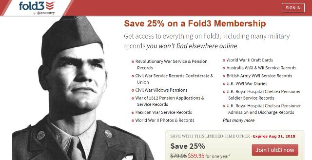 "Save 25% on Fold3 Annual Subscription! ""Get access to everything on Fold3, including many military records you won't find elsewhere online."""
